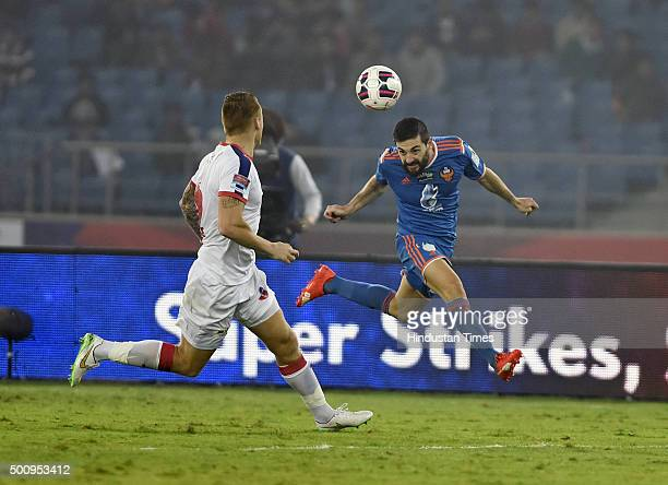 Players of Delhi Dynamos and FC Goa in action during the Indian Super League semifinal first leg at Jawahar Lal Nehru Stadium in New Delhi India on...