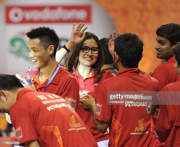 Players of Delhi Smashers celebrates the win of B Sai Praneeth against Tin Minh Nyugen of Pune Pistons in the inaugural match of Indian Badminton...