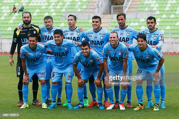 Players of Deportes Iquique pose for a team photo prior to a match between Deportes Iquique and U de Chile as part of 12 round of Torneo Apertura...