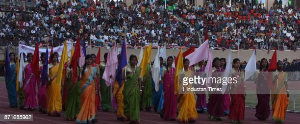 Players of different state take part in the march march past during the inagural function of 34th National Game at Birsa Munda Athletic stadium...