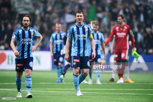Players of Djurgardens IF after losing the Allsvenskan match between Hammarby IF and Djurgardens IF at Tele2 Arena on June 4 2017 in Stockholm Sweden