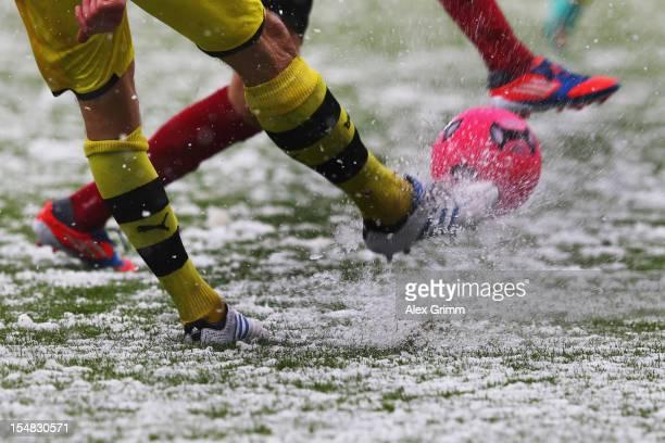 Players of Dortmund and Freiburg battle for the ball during the Bundesliga match between SC Freiburg and Borussia Dortmund at MAGE SOLAR Stadium on...