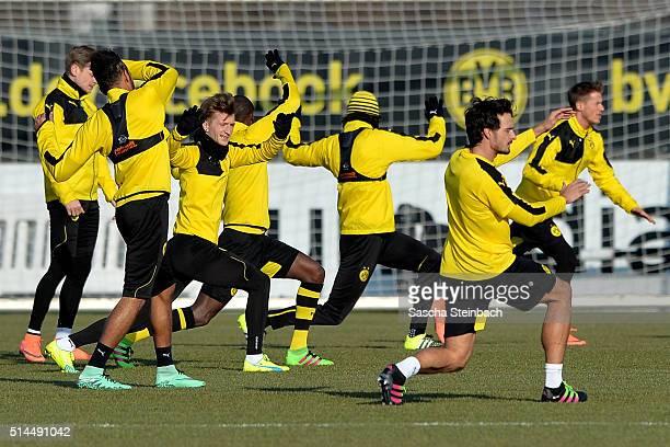 Players of Dortmund attend the Borussia Dortmund training session prior to the UEFA Europa League match between Borussia Dortmund and Tottenham...