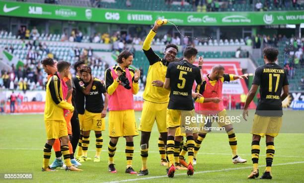 Players of Dortmund celebrate after the Bundesliga match between VfL Wolfsburg and Borussia Dortmund at Volkswagen Arena on August 19 2017 in...