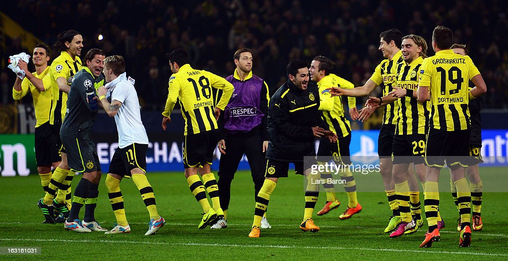 Players of Dortmund celebrate after winning the UEFA Champions League round of 16 second leg match between Borussia Dortmund and Shakhtar Donetsk at Signal Iduna Park on March 5, 2013 in Dortmund, Germany.