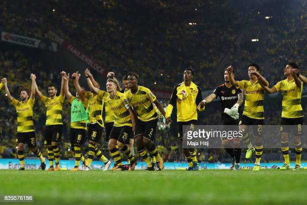 Players of Dortmund celebrate with their fans after the Bundesliga match between Borussia Dortmund and Hertha BSC at Signal Iduna Park on August 26...
