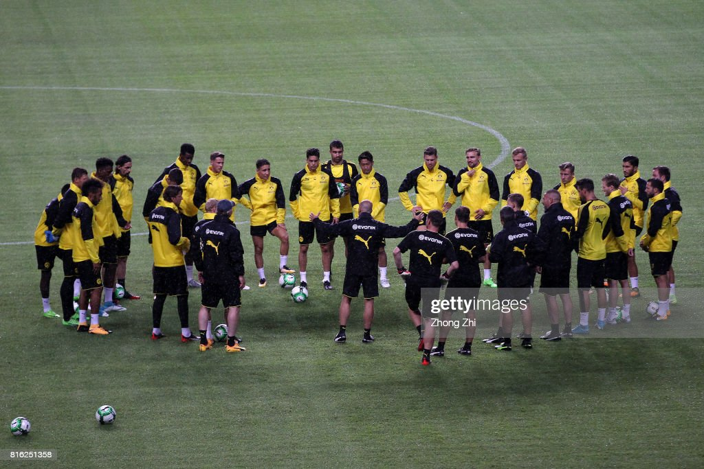 Players of Dortmund during training session ahead of the 2017 International Champions Cup football match between AC Milan and Borussia Dortmund at University Town Sports Centre Stadium on July 17, 2017 in Guangzhou, China.