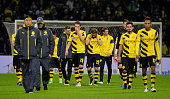 Players of Dortmund look dejected at the end of the Bundesliga match between SV Werder Bremen and Borussia Dortmund at Weserstadion on December 20...