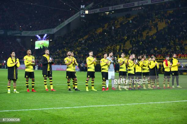 Players of Dortmund looks dejected after the German Bundesliga match between Borussia Dortmund v Bayern Munchen at the Signal Iduna Park on November...