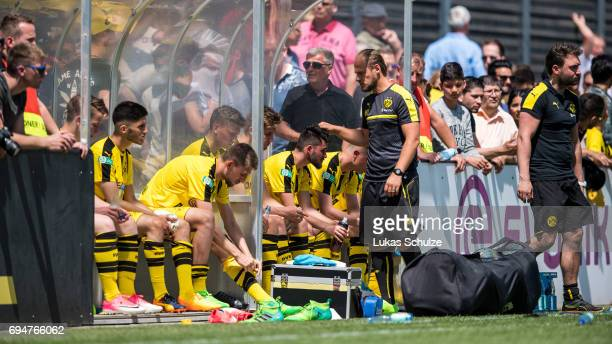Players of Dortmund react after loosing the B Juniors German Championship Semi Final match between Borussia Dortmund and Werder Bremen on June 11...