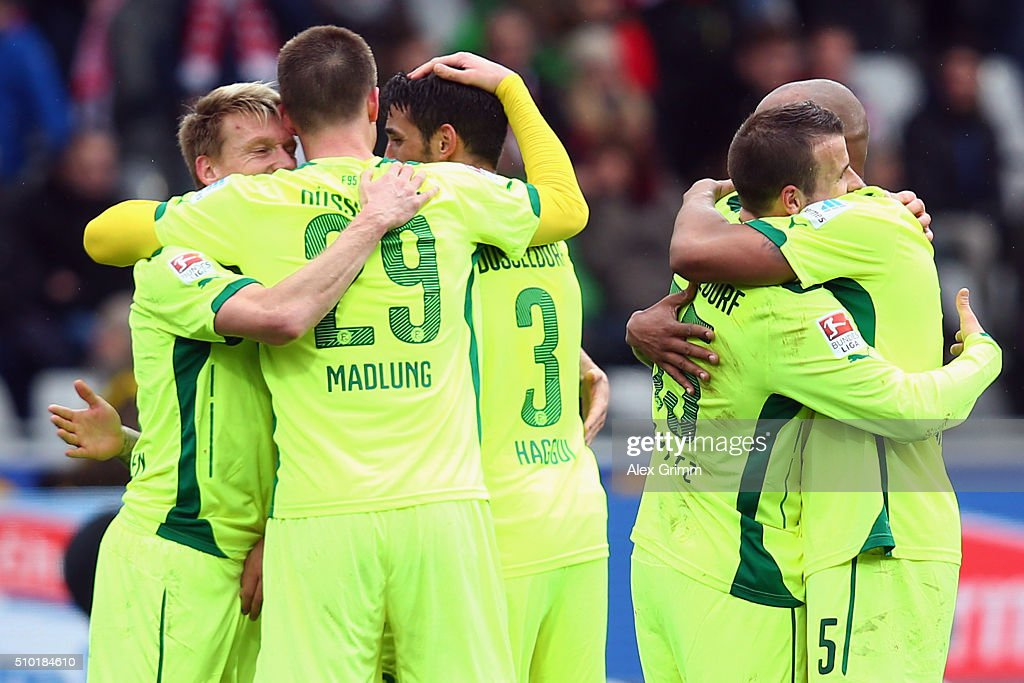 Players of Duesseldorf celebrate after the Second Bundesliga match between SC Freiburg and Fortuna Duesseldorf at Schwarzwald-Stadion on February 14, 2016 in Freiburg im Breisgau, Germany.
