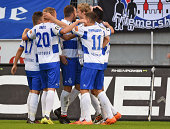 Players of Duisburg celebrate their teams first goal during the Third League match between MSV Duisburg and Arminia Bielefeld at...