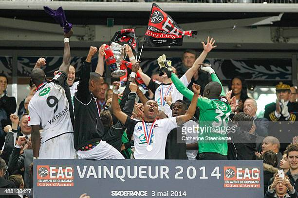 Players of EA Guingamp are celebrating the victory and the title after the French Cup Final between Stade Rennais FC and EA Guingamp at Stade de...