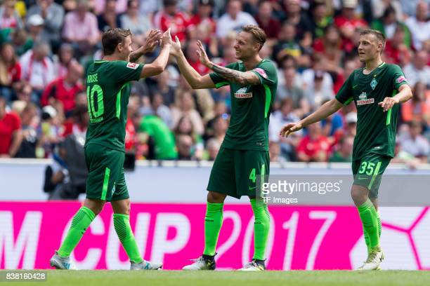 Players of EBremen celebrate a goal during the Telekom Cup 2017 match between Borussia Moenchengladbach and Werder Bremen at on July 15 2017 in...