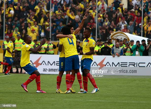 Players of Ecuador celebrate a goal during a match between Ecuador and Paraguay as part of the 12th round of the South American Qualifiers for the...