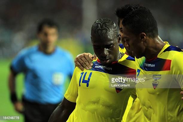 Players of Ecuador celebrate a goal during a match between Venezuela and Ecuador as part of the 2014 world cup qualifying soccer game at Jose Antonio...