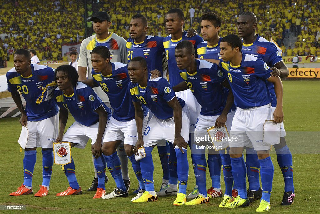 Players of Ecuador pose before a match between Colombia and Ecuador as part of the 15th round of the South American Qualifiers at Metropolitano Roberto Melendez Stadium on September 06, 2013 in Barranquilla, Colombia.