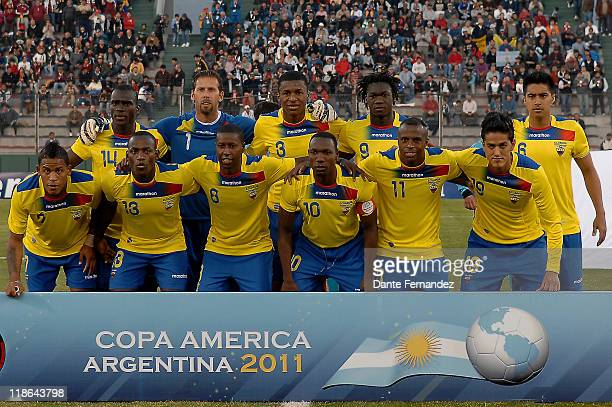 Players of Ecuador pose for a team photo before a match as part of the Copa America 2011 at the Father Martearena Stadium on July 092011 in...