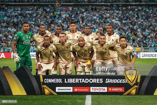 Players of Ecuador's Barcelona pose for a photo before the start of the Copa Libertadores 2017 football match at the Arena do Gremio stadium in Porto...