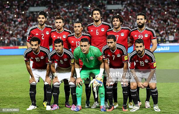 Players of Egypt pose for a photo prior to the 2018 World Cup Africa qualifying match between Egypt and Ghana at the Borg elArab Stadium in...