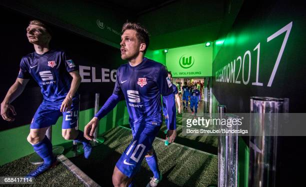 Players of Eintracht Braunschweig enter the pitch for the second half during the Bundesliga Playoff Leg 1 match between VfL Wolfsburg and Eintracht...