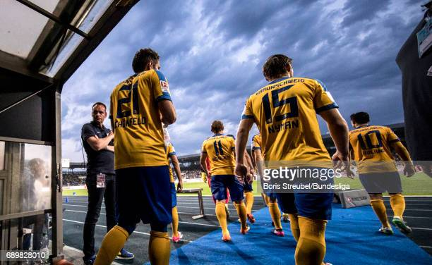 Players of Eintracht Braunschweig enter the pitch for the second half during the Bundesliga Playoff Leg 2 match between Eintracht Braunschweig and...