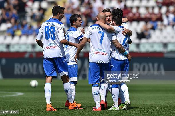 Players of Empoli FC celebrate after Daniele Padelli of Torino FC scores a goal in his own goal during the Serie A match between Torino FC and Empoli...