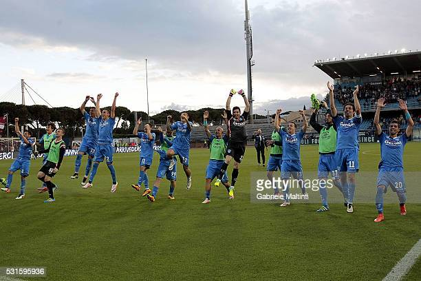 Players of ' Empoli Fc celebrate the end of the season during the Serie A match between Empoli FC and Torino FC at Stadio Carlo Castellani on May 15...