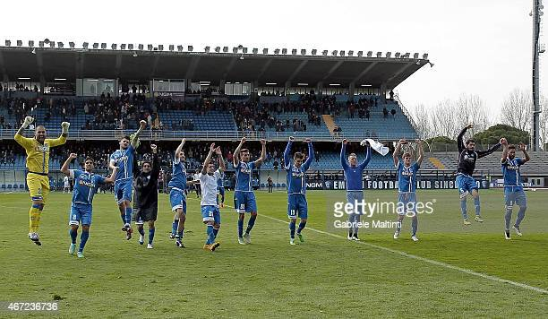 Players of Empoli FC celebrate victory after the Serie A match between Empoli FC and US Sassuolo Calcio at Stadio Carlo Castellani on March 22 2015...