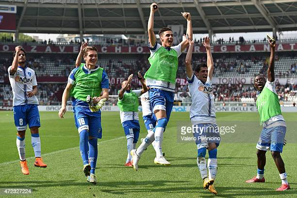 Players of Empoli FC celebrate victory at the end of the Serie A match between Torino FC and Empoli FC at Stadio Olimpico di Torino on May 6 2015 in...