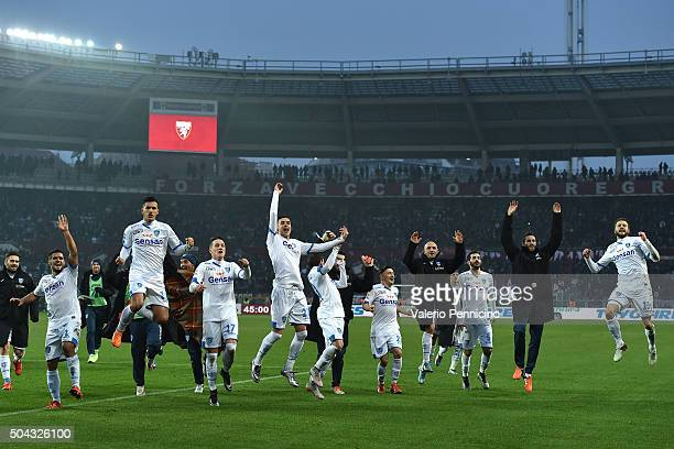 Players of Empoli FC celebrate victory at the end of the Serie A match between Torino FC and Empoli FC at Stadio Olimpico di Torino on January 10...