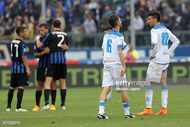 Players of Empoli show their dejection during the Serie A match between Atalanta BC and Empoli FC at Stadio Atleti Azzurri d'Italia on April 26 2015...