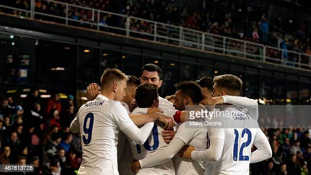 Players of England celebrate goal of Tom Carroll during the international friendly match between U21 Czech Republic and U21 England at Letna Stadium...