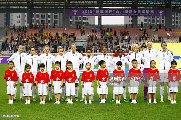 Players of England line up prior to the match between England and Australia during the 2015 Yongchuan Women's Football International Matches at...