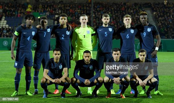 Players of England pose for a picture during the U21 international friendly match between Germany and England at BRITAArena on March 24 2017 in...