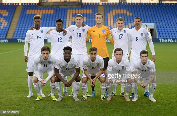 Players of England pose for a team picture before the International Match between England U20 and Czech Republic U20 at Greenhous Meadow on September...