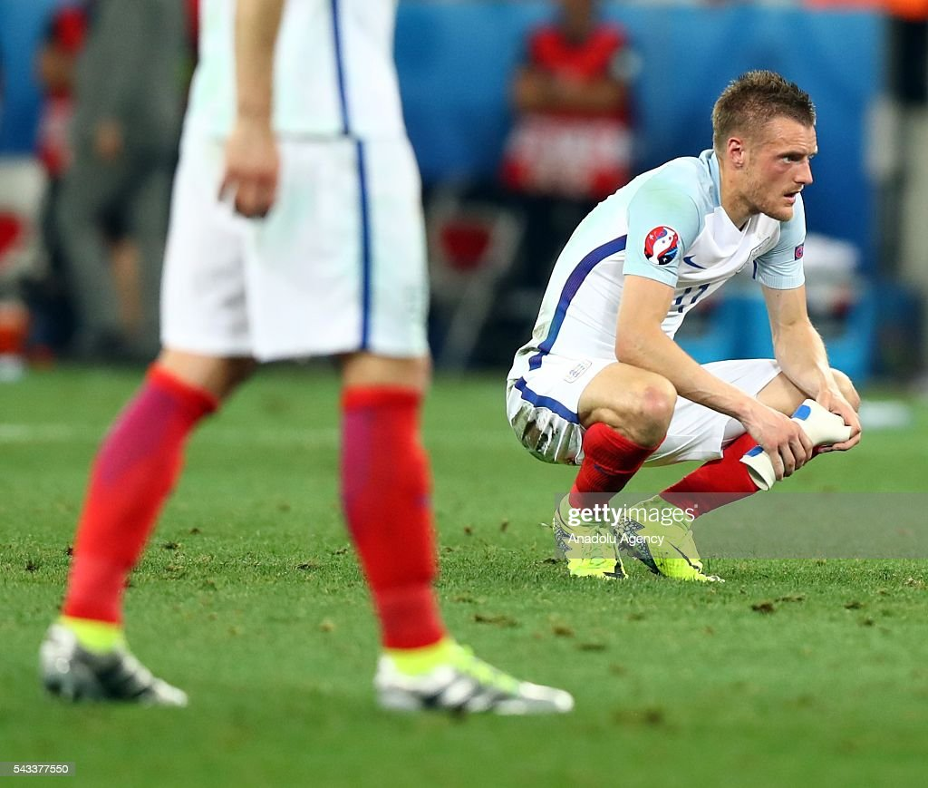 Players of England reacts after the UEFA Euro 2016 Round of 16 football match between Iceland and England at Stade de Nice in Nice, France on June 27, 2016.
