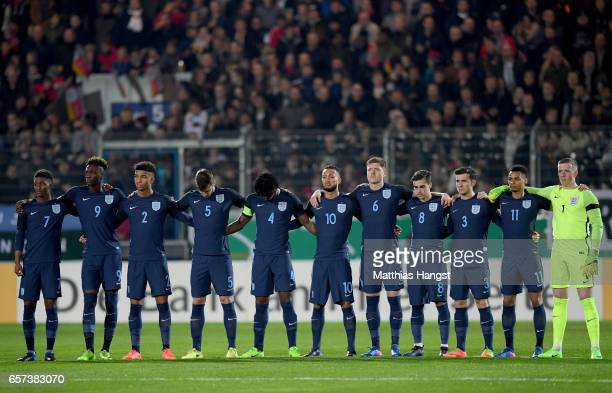 Players of England take a minute of silence in tribute of the London attack during the U21 international friendly match between Germany and England...