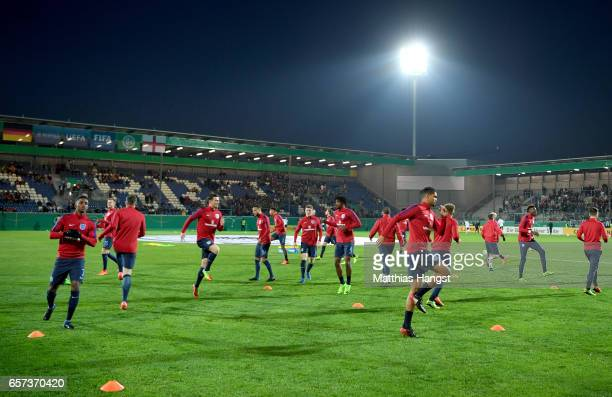 Players of England warm up prior to the U21 international friendly match between Germany and England at BRITAArena on March 24 2017 in Wiesbaden...