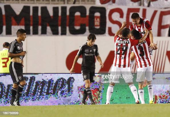 Players of Estudiantes celebrate a second goal during a match between River Plate and Estudiantes as part of Torneo Inicial at Antonio Vespucio...