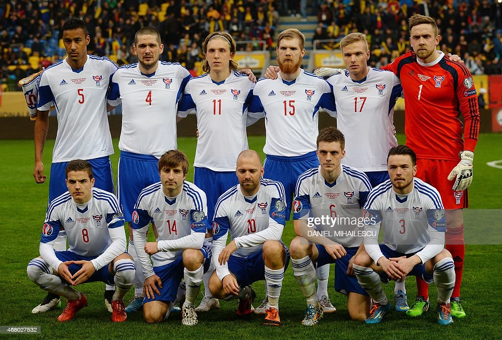 Players of Faroe Islands pose for a team photo prior the Group F Euro 2016 qualifying football match between Romania and Faroe Islands on March 29...