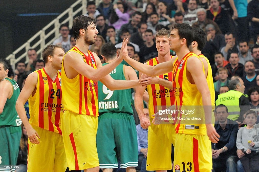 Players of FC Barcelona react during the Turkish Airlines Euroleague Basketball Top 16 Date 9 game between Panathinaikos Athens v FC Barcelona at Olympic Sports Center Athens on March 5, 2015 in Athens, Greece.