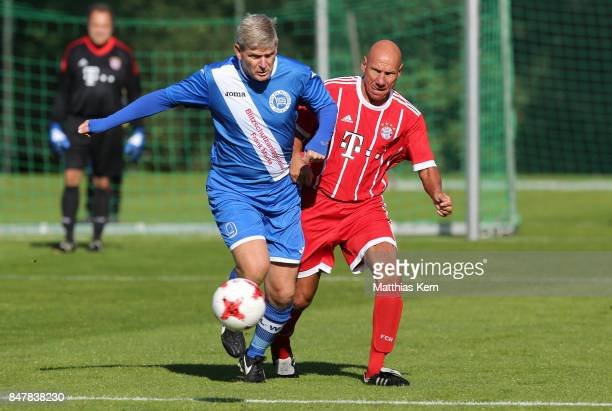 Players of FC Bayern Muenchen and SpVg Blau Weiss 1890 battle for the ball during the DFB over 40 and 50 cup at Amateurstadion on September 16 2017...