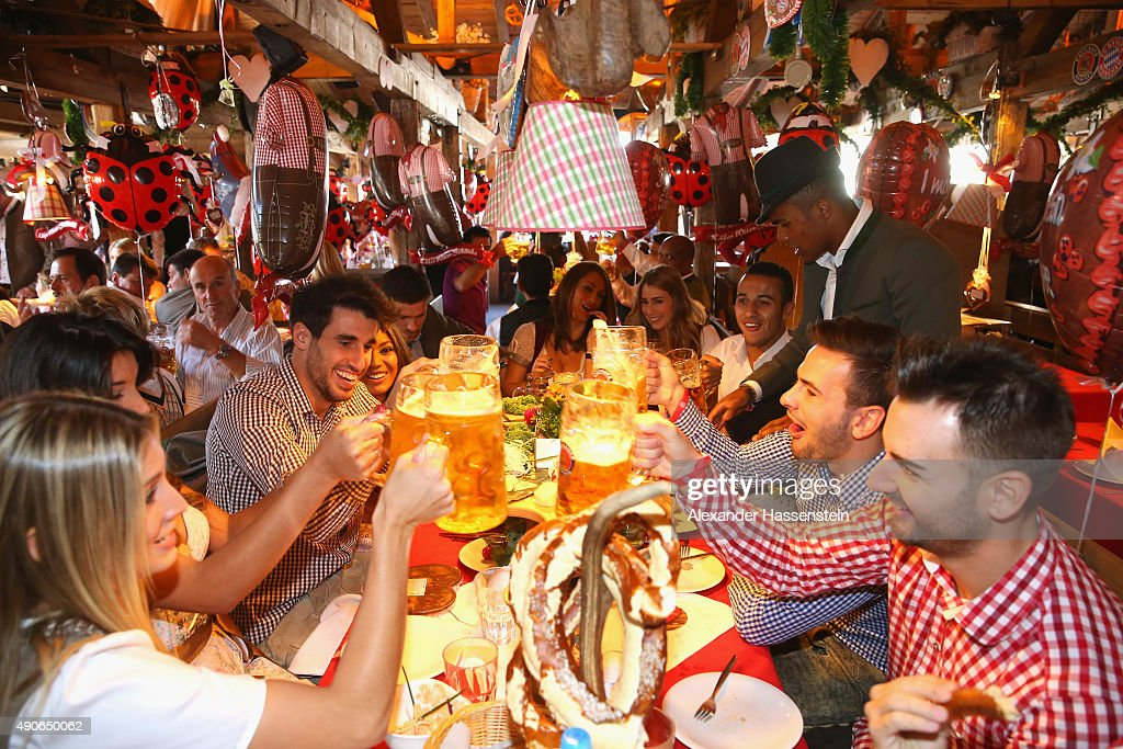Players of FC Bayern Muenchen attends the Oktoberfest 2015 Beerfestival at Kaefer Wiesenschaenke at Theresienwiese on September 30 2015 in Munich...