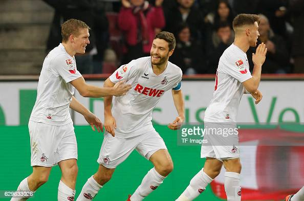 Players of FC Cologne celebrate a goal during the Bundesliga match between 1 FC Cologne and Borussia Dortmund at the RheinEnergie stadium in Cologne...