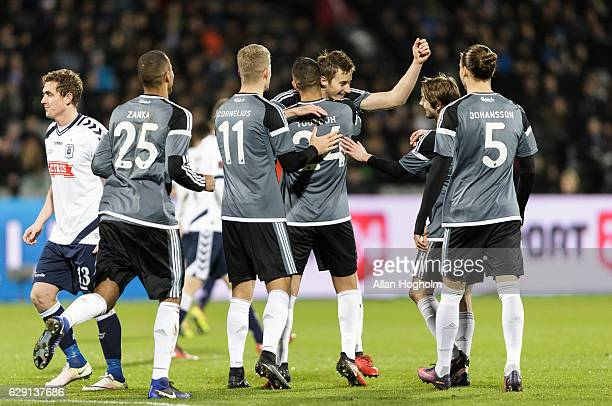 Players of FC Copenhagen celebrates after scoring their first goal during the Danish Alka Superliga match between AGF Aarhus and FC Copenhagen at...