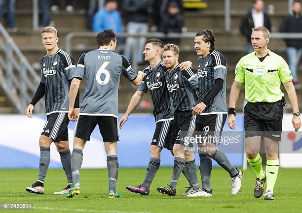 Players of FC Copenhagen celebrates after scoring their second goal during the Danish Alka Superliga match between OB Odense and FC Copenhagen at...