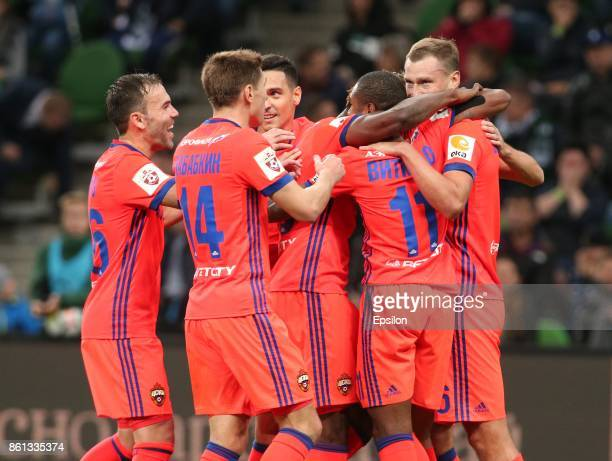 Players of FC CSKA Moscow celebrates after scoring a goal during the Russian Premier League match between FC Krasnodar v FC CSKA Moscow at the...