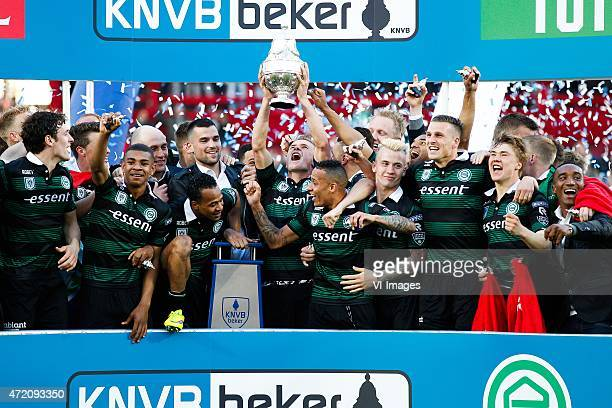 Players of FC Groningen celebrating with the cup during the Dutch Cup Final match between PEC Zwolle and FC Groningen on May 3 2015 at the Kuip...
