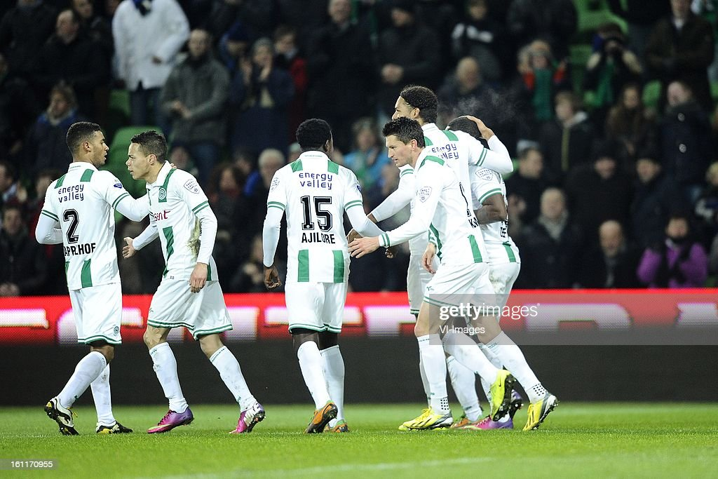 players of FC Groningen, during the Dutch Eredivisie match between FC Groningen and RKC Waalwijk at the Euroborg on february 9, 2013 in Groningen, The Netherlands